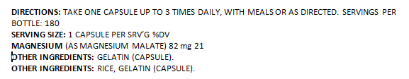 EML-(Magnesium Malate) 180ct
